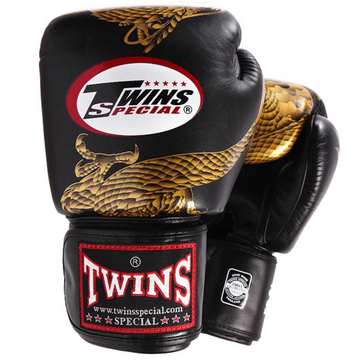 Twins Special Boxing Gloves Black-Gold Dragon