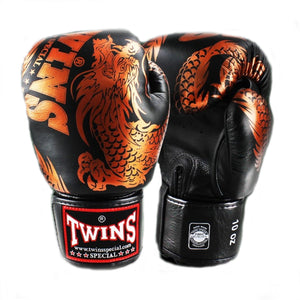Twins Special FBGV-49 Flying Dragon Boxing Gloves Black/Bronze
