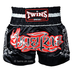 Twins TWS-153 Black-Silver Muay Thai Shorts