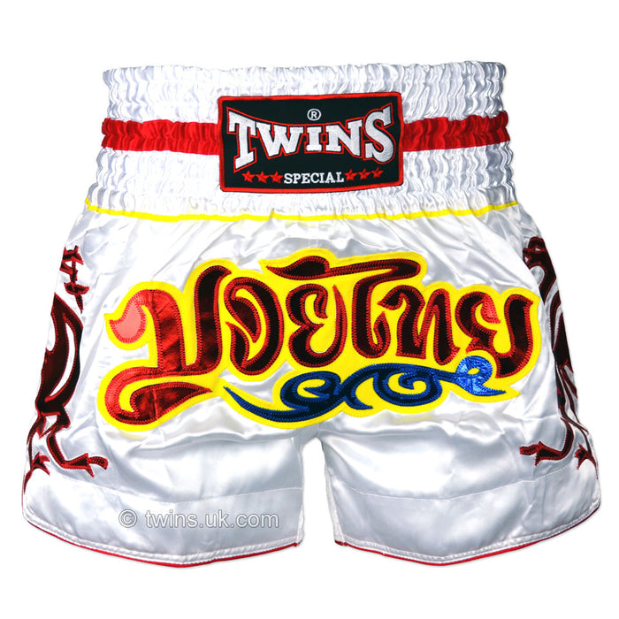 Twins TWS-158 White-Red Muay Thai Shorts