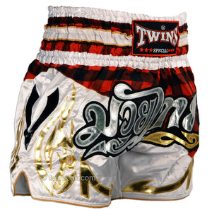 Twins TWS-851 Red Tartan Muay Thai Shorts 2