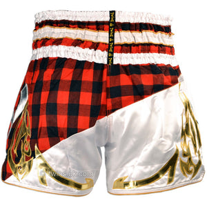 Twins TWS-851 Red Tartan Muay Thai Shorts 4