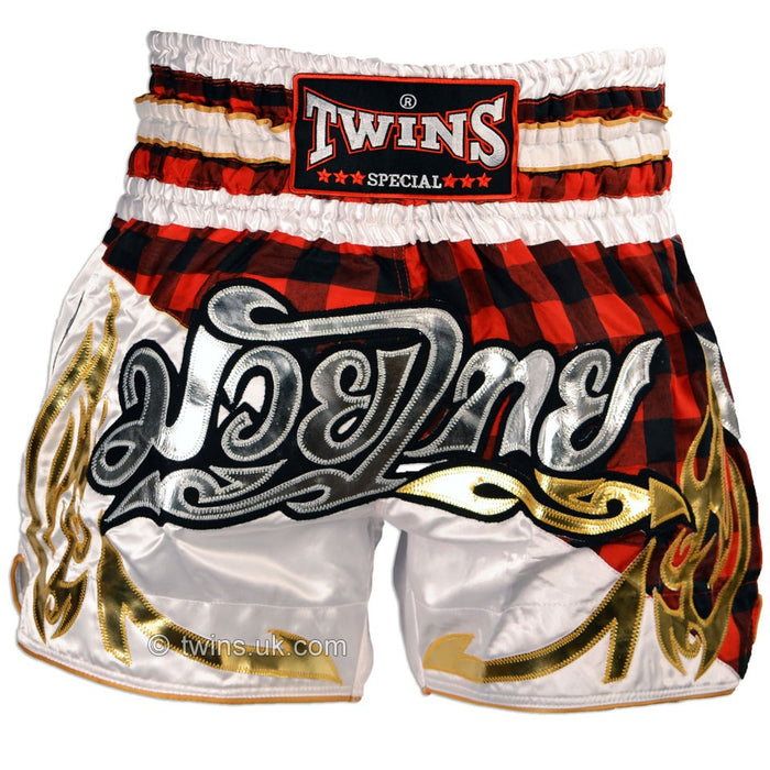 Twins TWS-851 Red Tartan Muay Thai Shorts