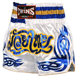 Twins TWS-881 White-Blue Muay Thai Shorts 2