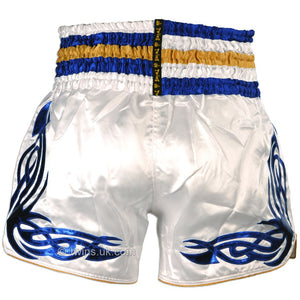 Twins TWS-881 White-Blue Muay Thai Shorts 4