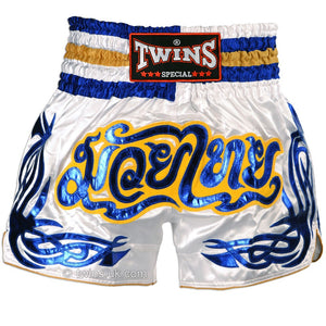 Twins TWS-881 White-Blue Muay Thai Shorts