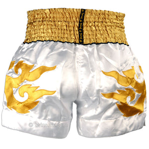 Twins TWS-907 White-Gold-Red Muay Thai Shorts