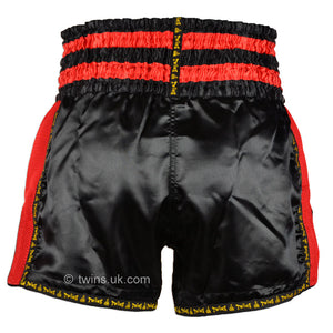 Twins TWS-922 Black Red Plain Retro Muay Thai Shorts
