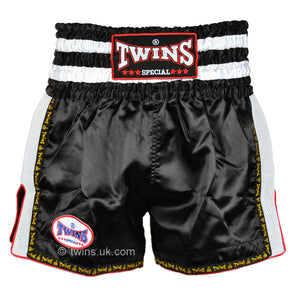 Twins TWS-923 Black White Plain Retro Muay Thai Shorts