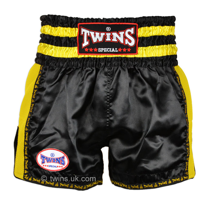 Twins TWS-924 Black Yellow Plain Retro Muay Thai Shorts