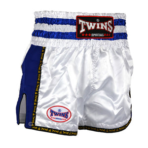 Twins TWS-925 White-Blue Plain Retro Muay Thai Shorts