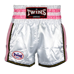 Twins TWS-926 White-Pink Plain Retro Muay Thai Shorts