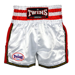 Twins TWS-927 White-Red Plain Retro Muay Thai Shorts