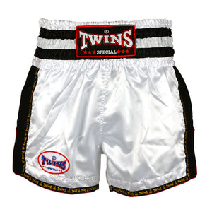 Twins TWS-928 White-Black Plain Retro Muay Thai Shorts