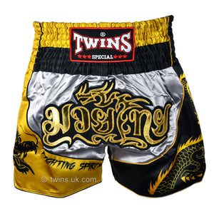 Twins TWS-Dragon-1 Silver-Gold Muay Thai Shorts