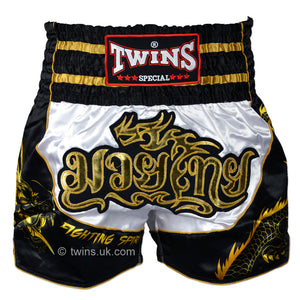Twins TWS-Dragon-3 White-Black Muay Thai Shorts