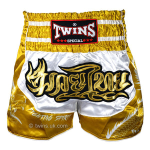Twins TWS-Dragon-4 White-Gold Muay Thai Shorts