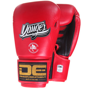 Danger Equipment Super Max Leather Boxing Gloves - Red