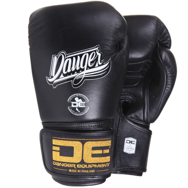 Danger Equipment Super Max Leather Boxing Gloves - Black