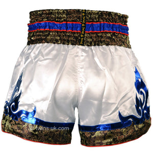 Twins TWS-871 White-Blue Muay Thai Shorts
