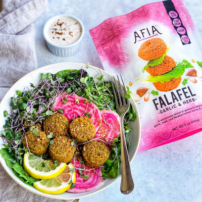 Falafel Spinach and Sprout Salad