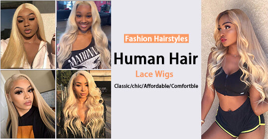 Straight Blonde Lace Human Hair Wig