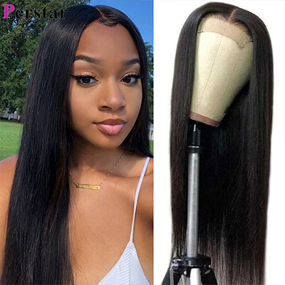 straight human virgin hair lace closure wig pre plucked