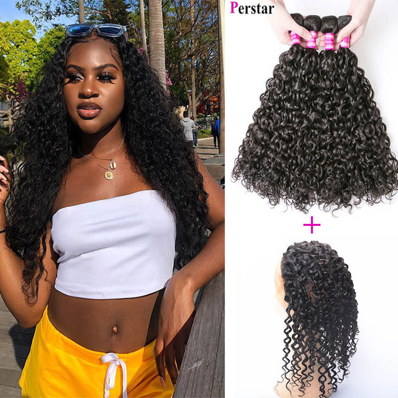 water wave human hair 4 bundles with 360