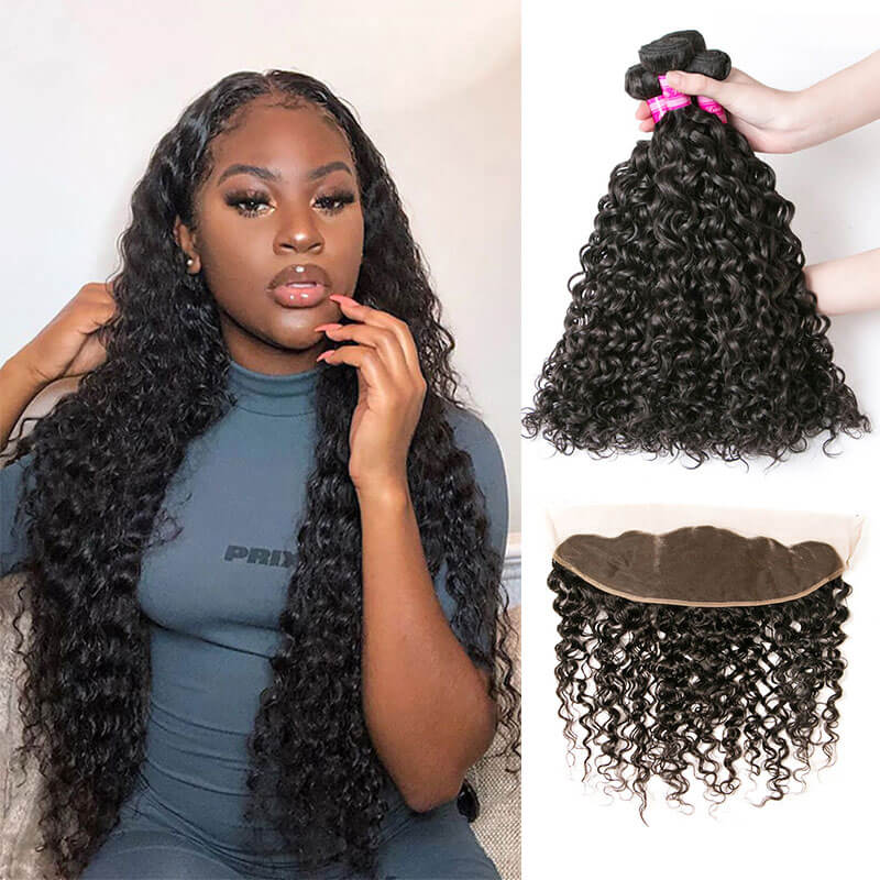 human hair bundle with front