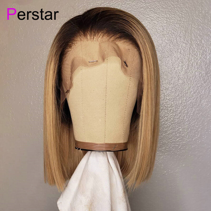Ombre 1b/27 Straight Brazilian Human Virgin Hair Lace Frontal Bob Wig