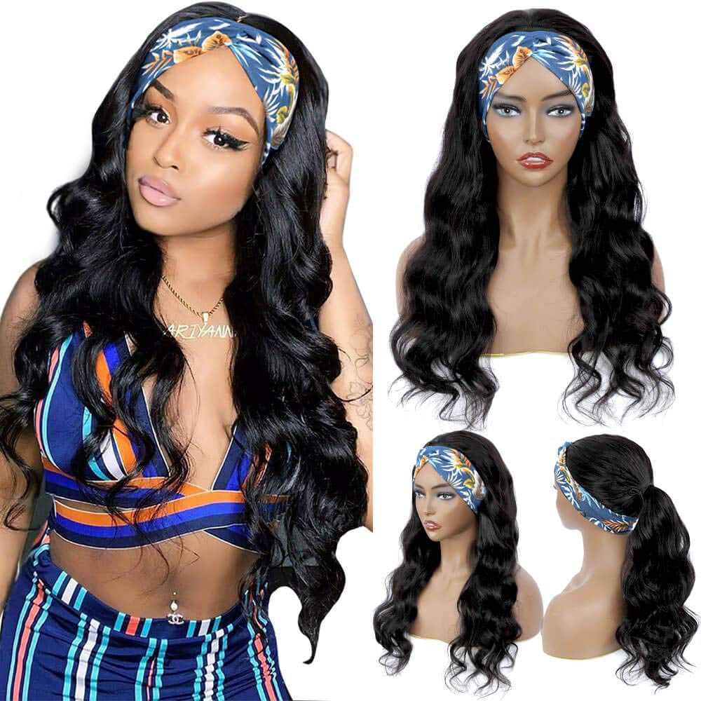 Body Wave Human Hair Wigs Glueless None Lace Front Wigs Brazilian Virgin Hair Machine Made Ice Silk Deep Curly Headband Half Wig