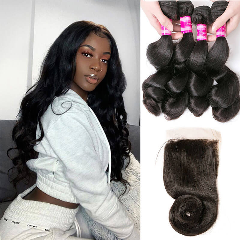 bundles with closure loose wave virgin hair