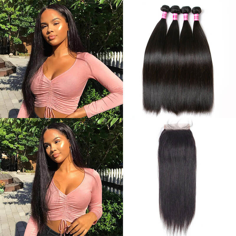 straight hair 4 bundles with closure