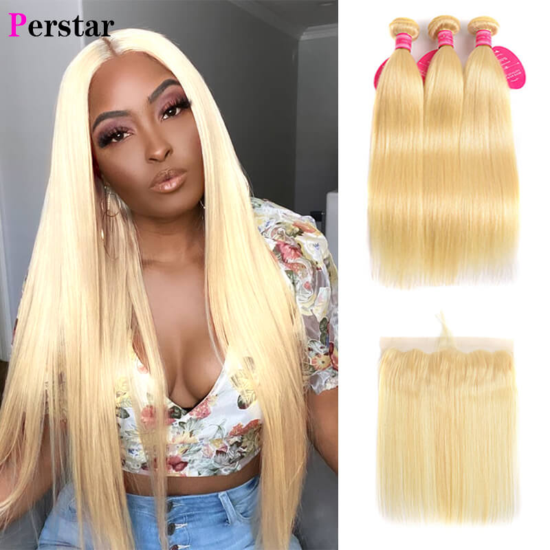100% human hair unprocessed 613 Color Straight Hair 3 Bundles With 13x4 Lace Frontal