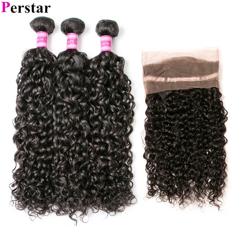 water wave 3 bundles with 360 lace frontal human hair