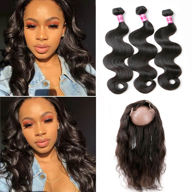 body wave bundles with 360 lace frontal
