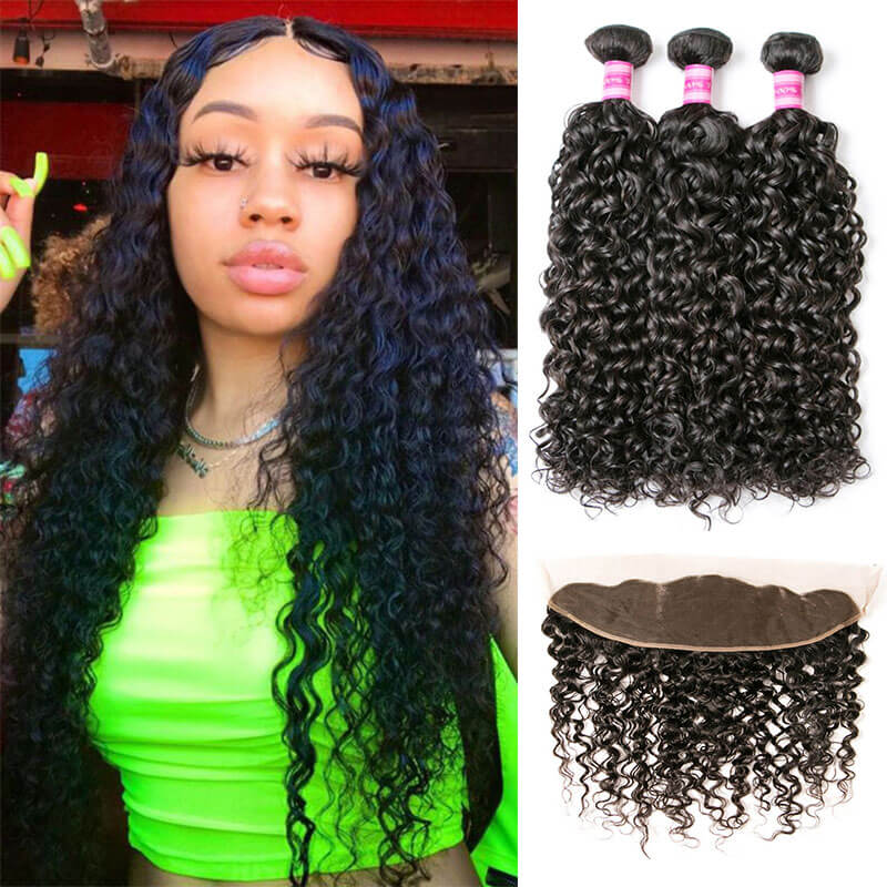 water wave remy hair bundles with frontal