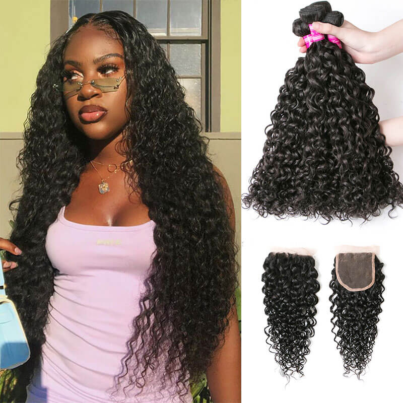 water wave virgin hair bundles with closure