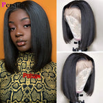 straight short bob lace front wig