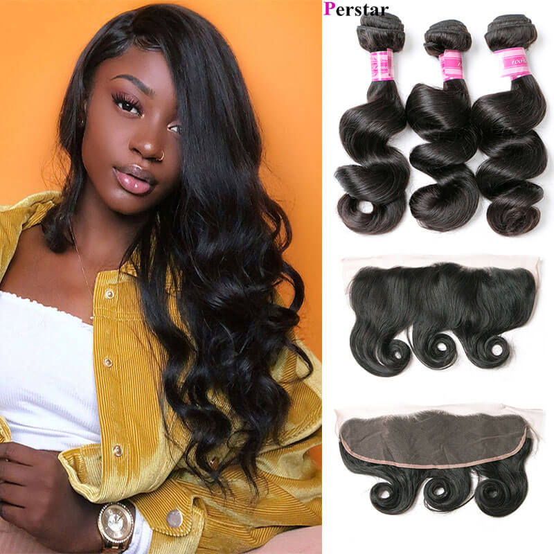 human hair 3 bundles with frontal