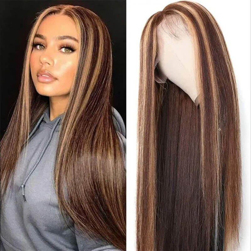 straight human hair highlight color wig