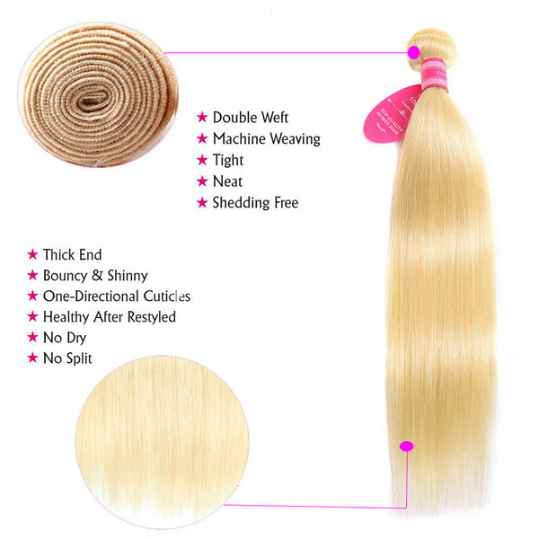 straight human hair 613 blonde color