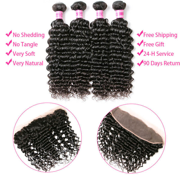 4 bundles with frontal human hair