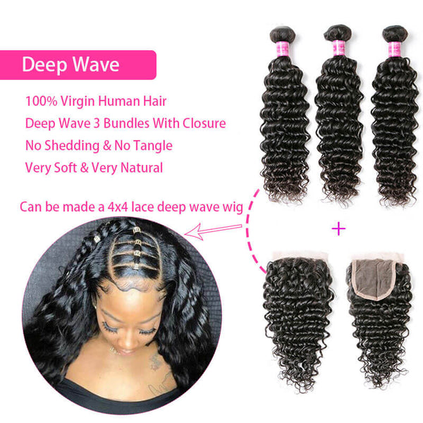 deep wave human hair bundles with closure