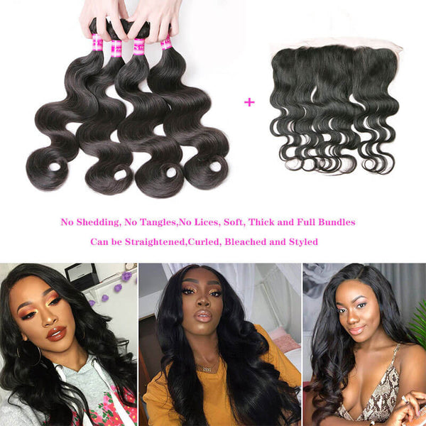 Body Wave Human Hair 4 Bundles with lace frontal