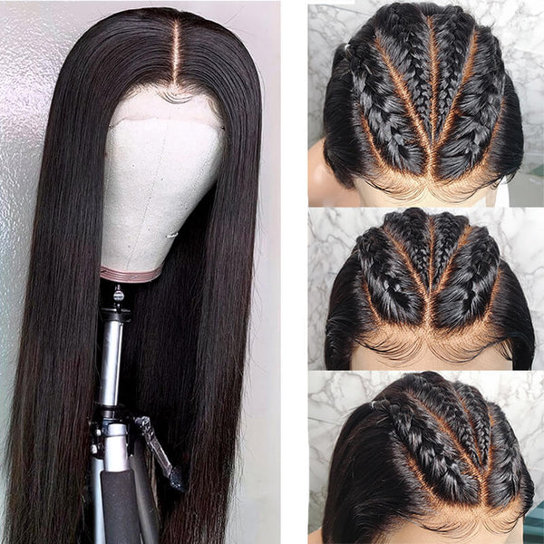 straight human virgin hair fake scalp