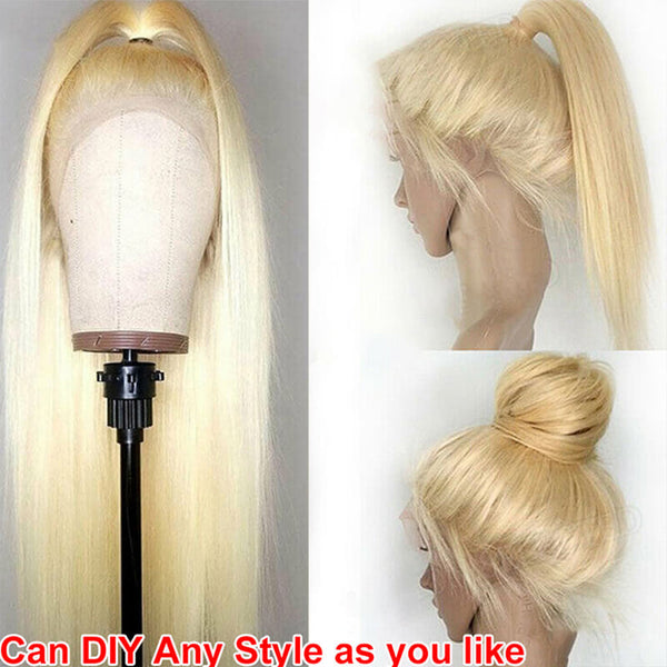 straight human hair blonde hair wig