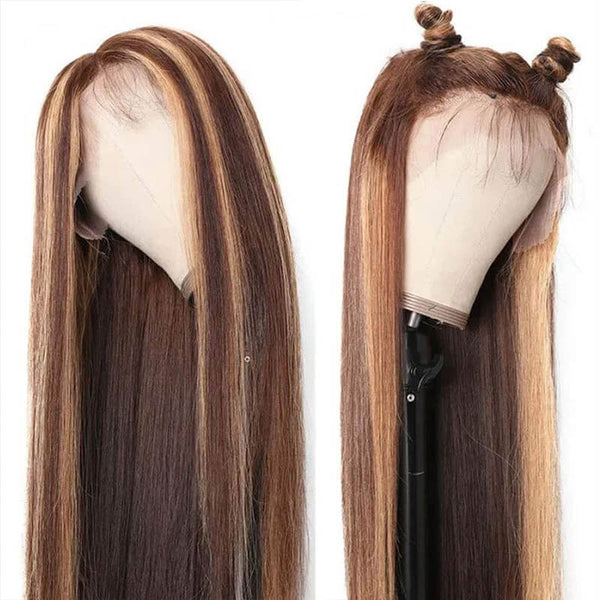 highlight color human hair wig