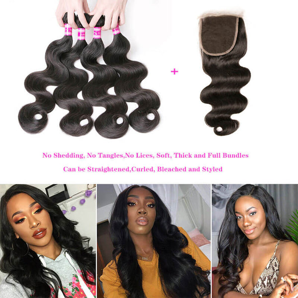 lace closure with bundles body wave