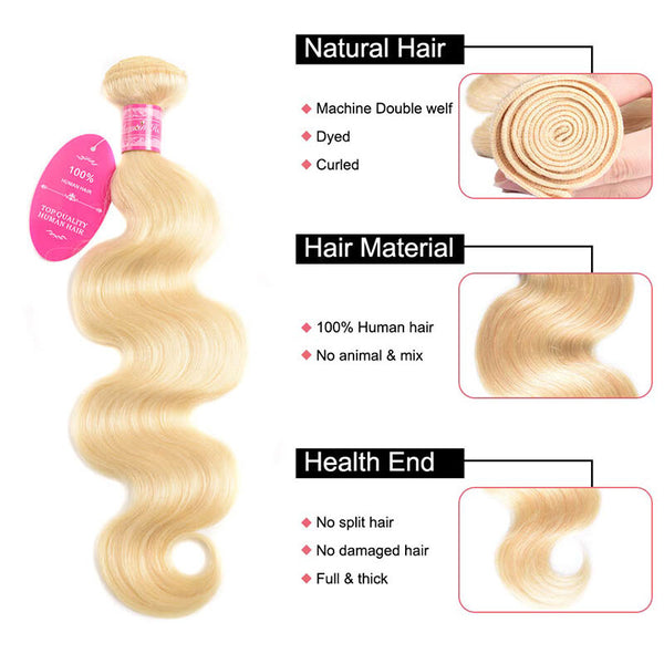 body wave bundles 613 blonde color